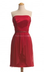 Gorgeous Red A Line Strapless Satin , Chiffon Bridesmaid Dresses (BSD133)