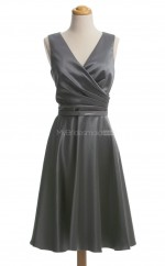 Chic Silver A Line V Neck Satin Bridesmaid Dresses (BSD144)