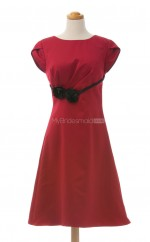 Dramatic Red A Line Jewel Satin Bridesmaid Dresses (BSD149)