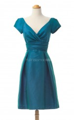 Stunning Ink Blue A Line V Neck Taffeta Bridesmaid Dresses (BSD158)