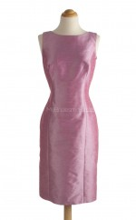 Hot Candy Pink Column/Sheath Bateau Taffeta Bridesmaid Dresses (BSD160)
