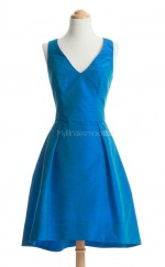 Lovely Ocean Blue A Line V Neck Taffeta Bridesmaid Dresses (BSD167)