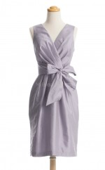 Luxurious Silver Column/Sheath V Neck Taffeta Bridesmaid Dresses (BSD169)