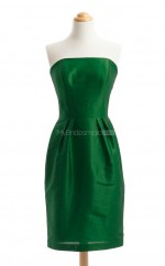 Exquisite Dark Green Column/Sheath Strapless Taffeta Bridesmaid Dresses (BSD173)