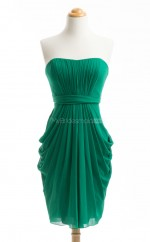 Graceful Dark Green Column/Sheath Strapless Chiffon Bridesmaid Dresses (BSD181)