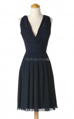 Dramatic Dark Navy A Line V Neck Chiffon Bridesmaid Dresses (BSD189)