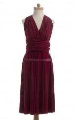 Beautiful Burgundy A Line V-Neck Chiffon Bridesmaid Dresses (BSD198)