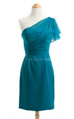 Attractive Jade Column/Sheath One Shoulder Chiffon Bridesmaid Dresses (BSD203)