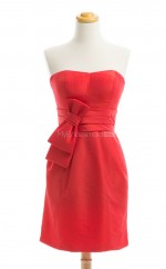 Luxurious Red Column/Sheath Strapless Taffeta Bridesmaid Dresses (BSD204)
