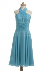Gorgeous Sky Blue A Line Halter Chiffon Bridesmaid Dresses (BSD210)