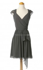 New Arrive Silver A Line V Neck Chiffon Bridesmaid Dresses (BSD228)