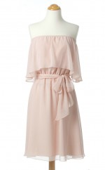 Charming Blushing Pink A Line Off The Shoulder Chiffon Bridesmaid Dresses (BSD230)