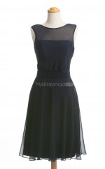 New Style Dark Navy A Line Jewel Chiffon Bridesmaid Dresses (BSD231)