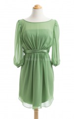 Luxurious Clover A Line Scoop Chiffon Bridesmaid Dresses (BSD237)