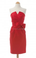 Vogue Red Column/Sheath Strapless Satin Bridesmaid Dresses (BSD241)