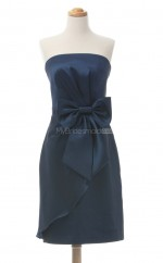Affordable Dark Navy Column/Sheath Strapless Satin Bridesmaid Dresses (BSD242)