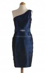 Beautiful Royal Blue Column/Sheath One Shoulder Taffeta Bridesmaid Dresses (BSD243)