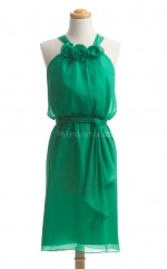 Discount Green Column/Sheath Halter Silk Like Chiffon Bridesmaid Dresses (BSD244)