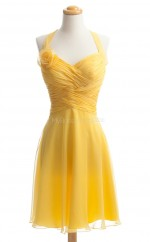 Luxurious Yellow A Line Halter Chiffon Bridesmaid Dresses (BSD246)