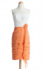 Gorgeous Orange Column/Sheath Strapless Chiffon Bridesmaid Dresses (BSD249)