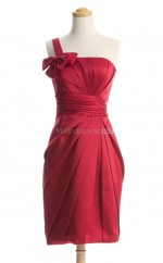 Luxurious Red Column/Sheath One Shoulder Satin Bridesmaid Dresses (BSD251)