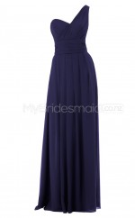 Custom Color One Shoulder Chiffon Long Bridesmaid Dress BSD305