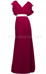Custom Color A Line Long Bridesmaid Dress with Short Sleeves BSD349