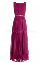 Custom Color Long Bateau Bridesmaid Dresses with Short Sleeves BSD351