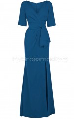 Custom Color A Line Long Split Front Bridesmaid Dress with Short Sleeves BSD369