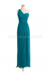 Custom Color One Shoulder Chiffon Long Bridesmaid Dress BSD405