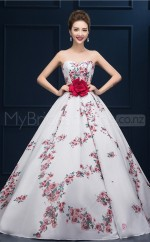 Print Ball Gown Sweetheart Neck Long Lace-up Evening Dresses(BSD445)