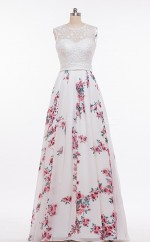 Print Fabric Long A Line Ball Dresses(BSD446)