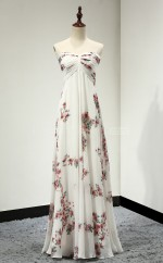 Print Long Strapless Lace-up Empire Waist Evening Dresses(BSD447)