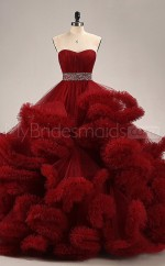 Tulle Sweetheart Neck Ball Gown Red Lace-up Long Prom Dresses(BSD452)
