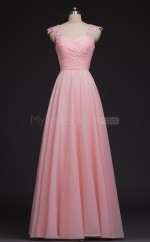 Pink Long Chiffon A Line Straps Bridesmaid Dresses(BSD453)