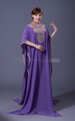 A Line High Collar Long Purple Muslim Dresses with Long Sleeves(BSD467)