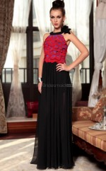 Long Red Prom Halter Dress with Pleats and Flowers(GZNZ30862)