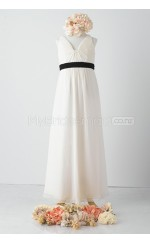 Ivory Long A Line Chiffon Junior Bridesmaid Dress (NZJBD06-003)