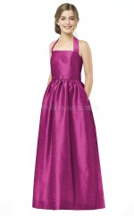 Fuchsia Long A Line Taffeta Junior Bridesmaid Dress (NZJBD06-006)