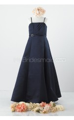 Dark Navy Long A Line Satin Junior Bridesmaid Dress (NZJBD06-007)