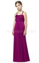 Grape Floor-length Sheath/Column Satin Junior Bridesmaid Dress (NZJBD06-016)