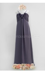 Dark Navy Floor-length Sheath/Column Chiffon Junior Bridesmaid Dress (NZJBD06-020)