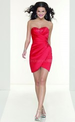 Stretch Satin Sheath Sweetheart Neckline Short Red Ball Dresses (NZJT06002)