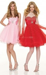 Red Organza A-line Sweetheart Neckline Short School Ball Gowns(NZJT06003)