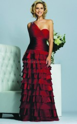 Burgundy A-line Floor-length Charmeuse One Shoulder Ball Dresses (NZJT06009)