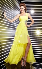 Yellow A-line Asymmetrical Chiffon One Shoulder Ball Dresses (NZJT06026)