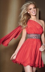 Red A-line Short Chiffon One Shoulder Ball Dresses (NZJT06029)