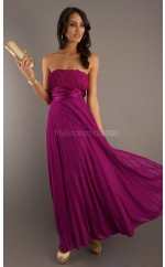 Dark Fuchsia A-line Strapless Chiffon Long Ball Dresses (NZJT06048)