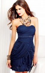 Dark Navy Chiffon Sheath Sweetheart Neckline Short School Ball Gowns(NZJT06053)