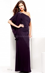 Chiffon Sheath One Shoulder Floor-length Grape Ball Dresses (NZJT06054)